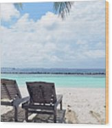 Lounge Chairs At The Beach In Maldives Wood Print