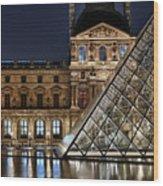 Louvre By Night II Wood Print