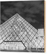 Louvre Museum Bw Wood Print