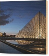 Louvre Puddle Reflection Wood Print