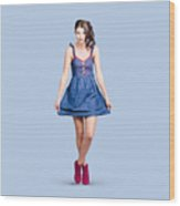 Lovable Eighties Female Pin-up In Denim Dress Wood Print