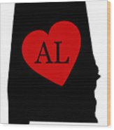 Love Alabama Black Wood Print