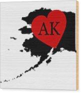 Love Alaska Black Wood Print