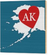 Love Alaska White Wood Print