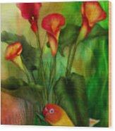 Love Among The Lilies  Wood Print