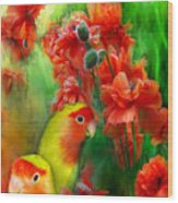 Love Among The Poppies Wood Print