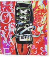 Love And Converse Wood Print