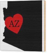 Love Arizona Black Wood Print
