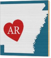 Love Arkansas White Wood Print