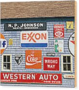 Love Barn With Road Signs, Orland, Maine Wood Print