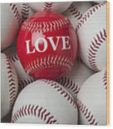 Love Baseball Wood Print