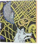 Love Between Valkyrie And Wolf Wood Print