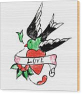 Love Bird Tattoo Wood Print