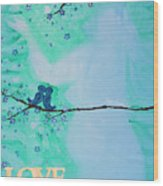 Love Birds In Blue Maternity Wood Print