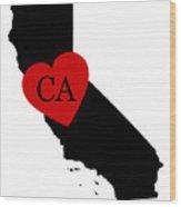 Love California Black Wood Print