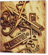 Love Charms In Romantic Signs And Symbols Wood Print