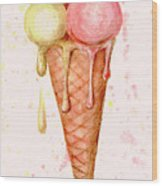 Love Ice Cream Wood Print