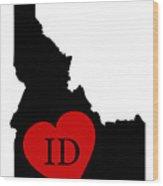 Love Idaho Black Wood Print