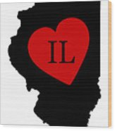 Love Illinois Black Wood Print