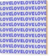 Love In Blue Neon Wood Print
