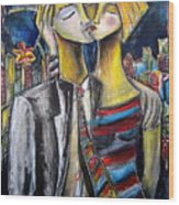 Love In The City Wood Print