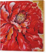 Love Is Forever  Red Peony Wood Print