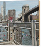 Love Locks In Brooklyn New York Wood Print