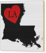 Love Louisiana Black Wood Print