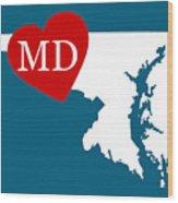 Love Maryland White Wood Print