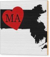 Love Massachusetts Black Wood Print