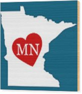 Love Minnesota White Wood Print