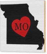 Love Missouri Black Wood Print