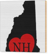 Love New Hampshire Black Wood Print