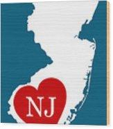 Love New Jersey White Wood Print