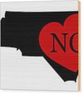 Love North Carolina Black Wood Print