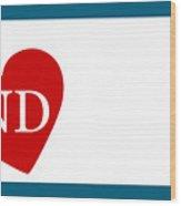 Love North Dakota White Wood Print