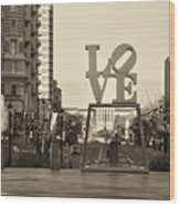 Love On The Parkway In Sepia Wood Print