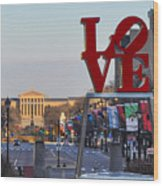 Love Park And The Parkway In Philadelphia Wood Print