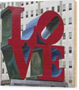 Love Park In Center City - Philadelphia Wood Print by Brendan Reals