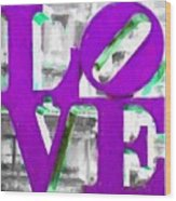 Love Philadelphia Purple Digital Art Wood Print