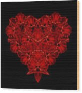 Love Red Floral Heart Wood Print