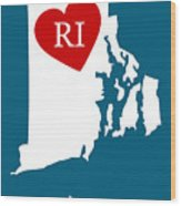Love Rhode Island White Wood Print
