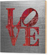 Love Sign Philadelphia Recycled Red Vintage License Plates On Aluminum Sheet Wood Print