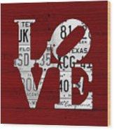Love Sign Vintage License Plates On Red Barn Wood Wood Print