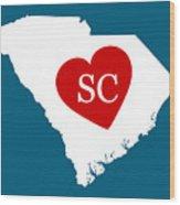 Love South Carolina White Wood Print