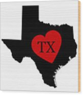 Love Texas Black Wood Print