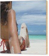 Love The Beach Wood Print