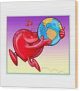 Love The Planet Wood Print