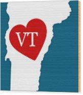 Love Vermont White Wood Print