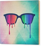 Love Wins Rainbow - Spectrum Pride Hipster Nerd Glasses Wood Print